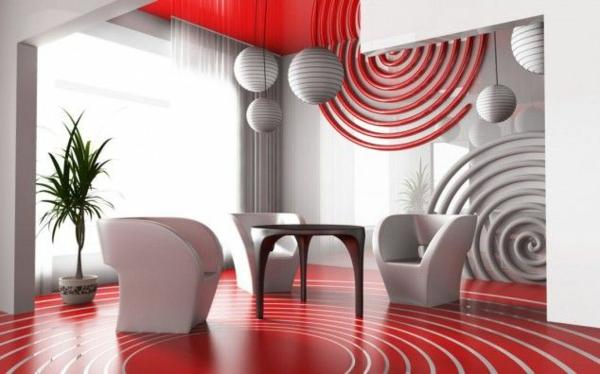 moderne wohnideen rot  und weiße gestaltung tisch