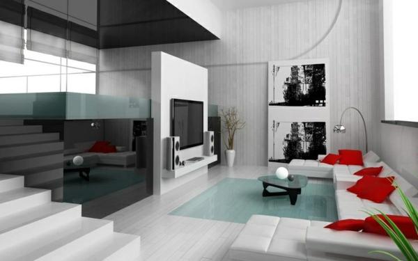 moderne wohnzimmer gestaltung weißes sofa  rote dekokissen