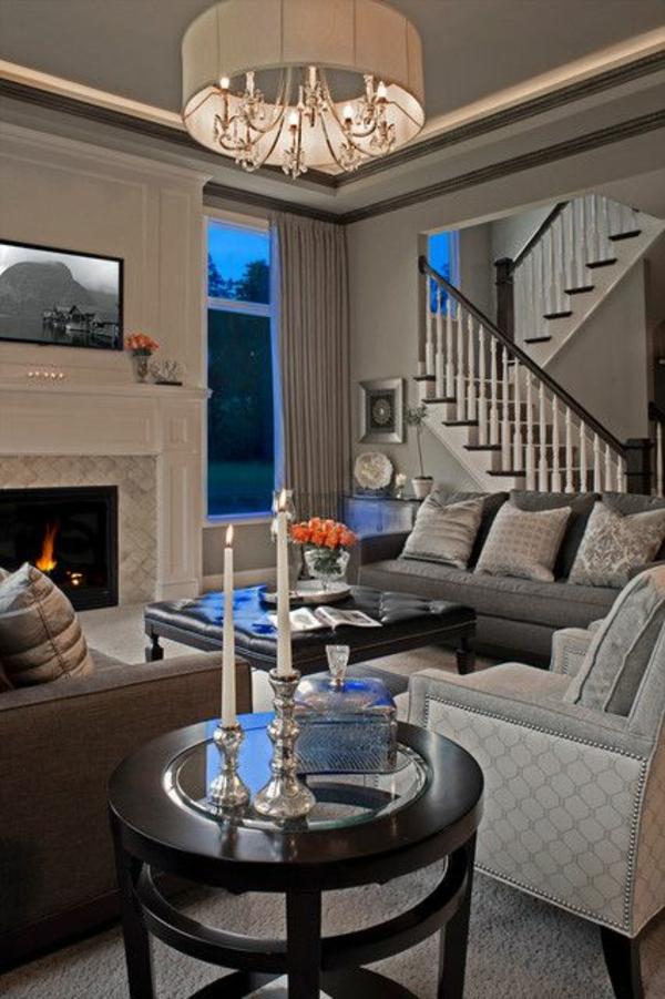 moderne wohnzimmer rundtisch sofa kissen