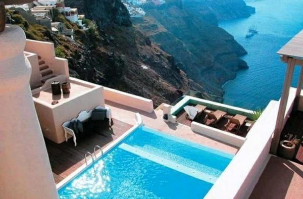 moderner balkon schick pool liegen wohnideen