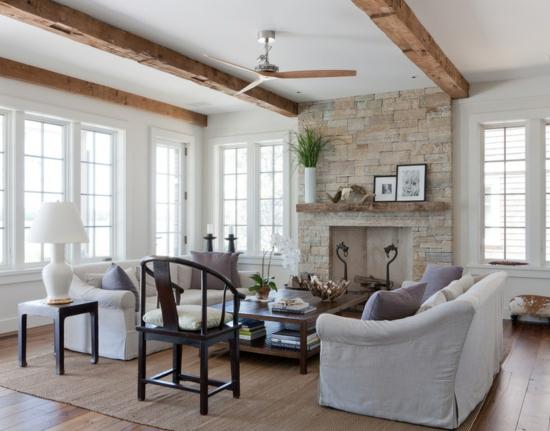 wandverkleidung holz modernes wohnzimmer kamin ecru sofa | media, Mobel ideea