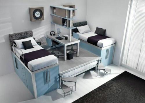modernes jugendzimmer einrichtungsideen jungenzimmer blau brüder