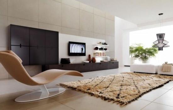 modernes wohnzimmer deseigner möbel relaxsessel wohnwand