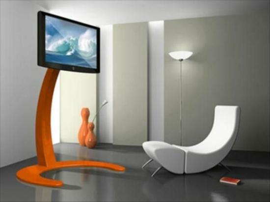 modernes wohnzimmer gestalten designer möbel fernseher sessel