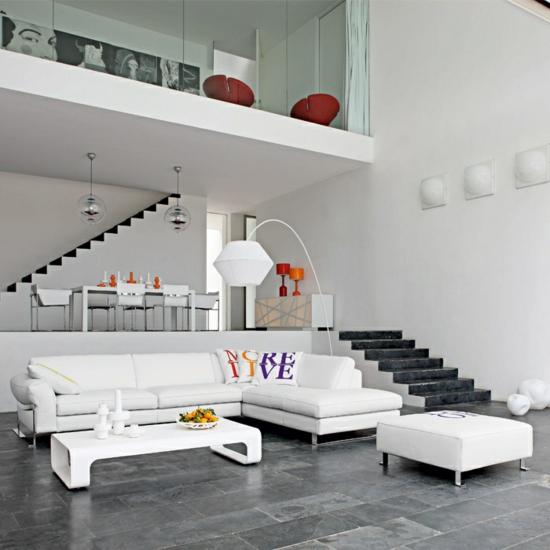 Modernes Wohnzimmer Gestalten Farbakzente Designer Möbel Zwischengeschoss  Essbereich