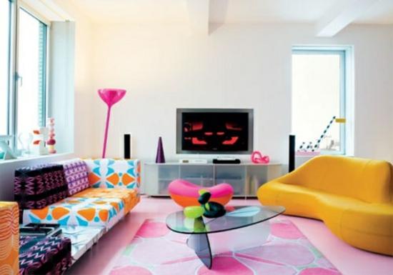 Modernes Wohnzimmer Gestalten Farbgestaltung Muster Designer Möbel