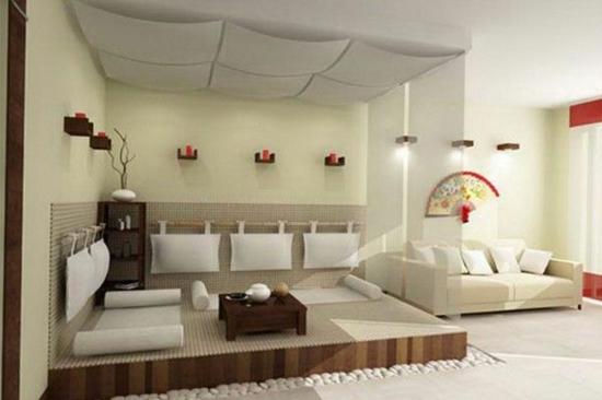 Modernes Wohnzimmer Gestalten Im Asiatischen Stil Kieselsteine Entspannungsecke