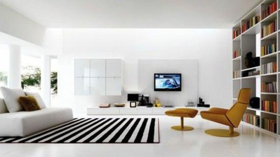 modernes wohnzimmer gestalten minimalistisch schwarz weiß designer relaxsessel