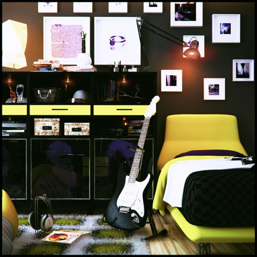 musikalisch kind jugendzimmer farben gitarre glanz kommode