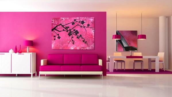 mutig rosarot kühn leuchtend sofa gemälde glanzvoll wandfarben wohnzimmer