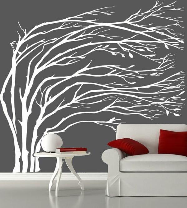 natur inspiriert baum weiß wandtattoo grau mattiert wandfarben wohnzimmer