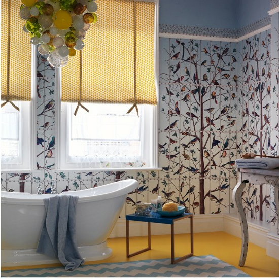 natur wandgestaltung inspiration chavron muster badewanne