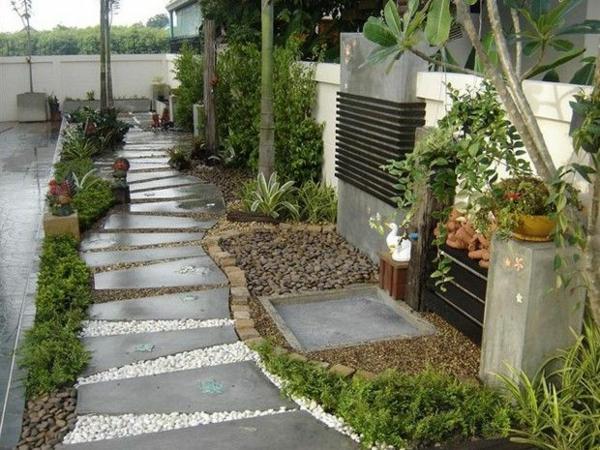 betonplatten gartenideen kies bepflanzung blumentöpfe