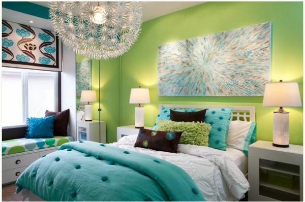 neon akzent farben grün blau bett