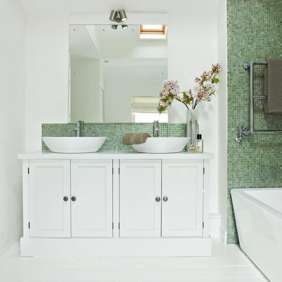 fliesen waschschrank blumen olivgrün mosaik