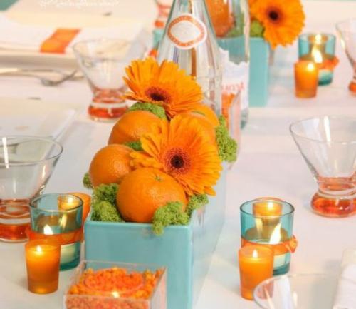 orange gerber kerzenhalter türkis porzellan kasten Ideen für Tischdeko im Herbst