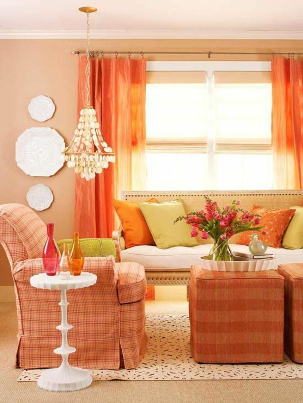 orange grell gardinen gemustert bezüge möbel wandfarben wohnzimmer