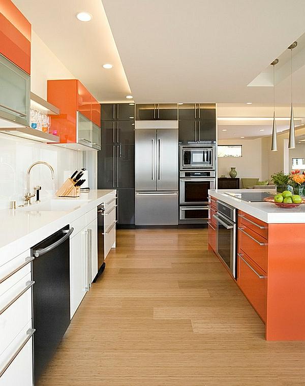 orange farben für küchenschränke kücheninsel einrichten warm