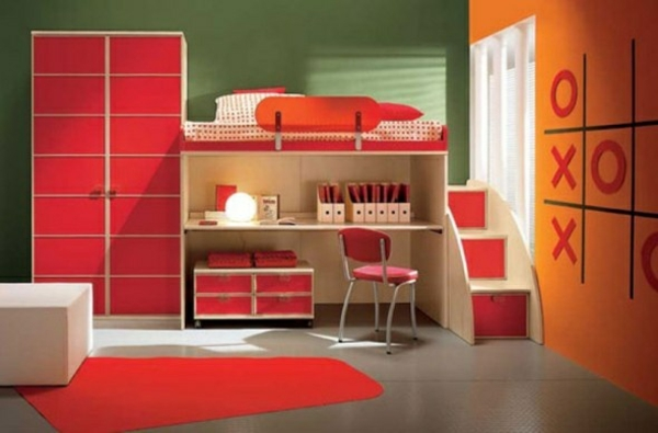 orange rote einrichtung im jugendzimmer schreibtisch bett