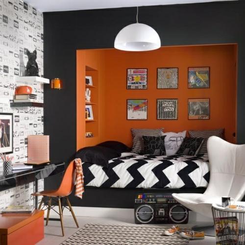 orange schwarz lampe  muster jugendzimmer bettdecke chavron