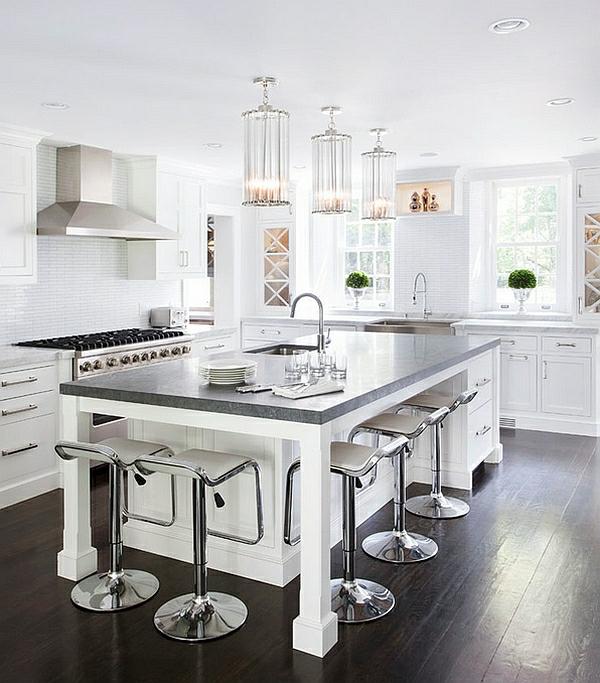 ordnungssystem küche kücheninsel barstühle metall