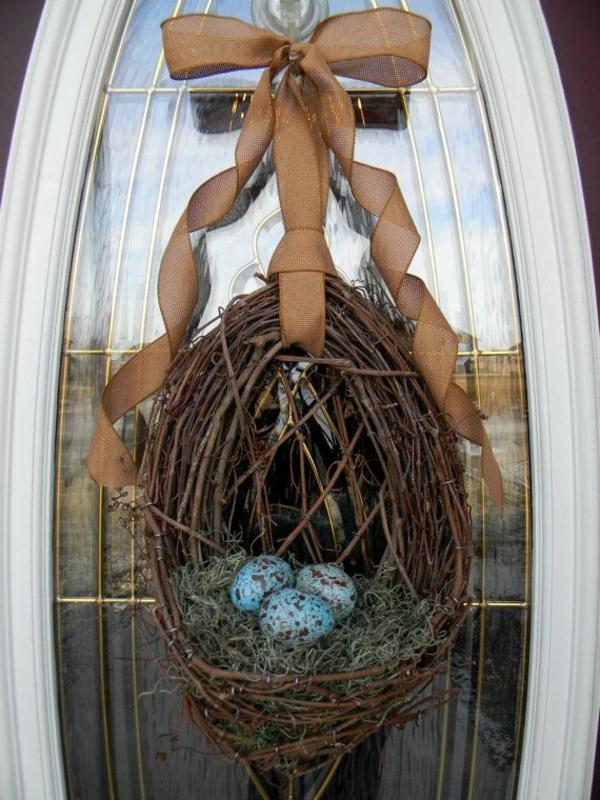 ostern diy dekoration für haustür nest