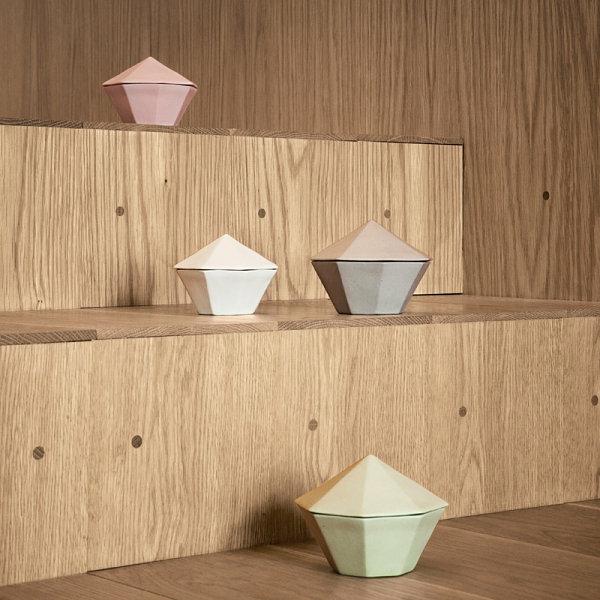 geometrisch behälter heimtextilien und wohnaccessoires in pastellfarben
