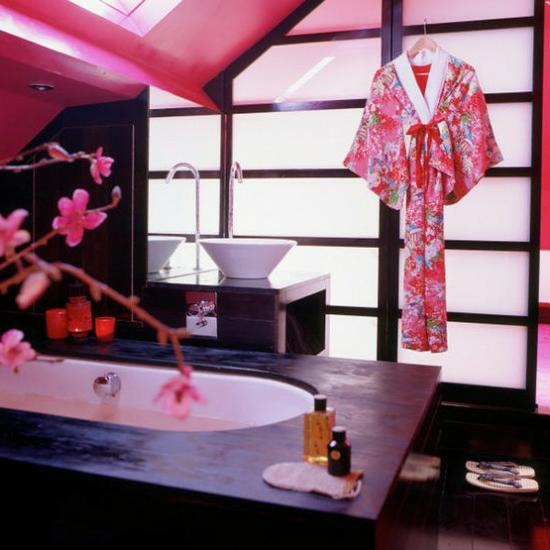 Pink Orientalisch Japanisch Badezimmer