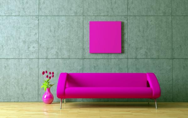 wohnzimmer ideen pink:pink wohnzimmer sofa bodenvase gestaltung schöne wandfarben