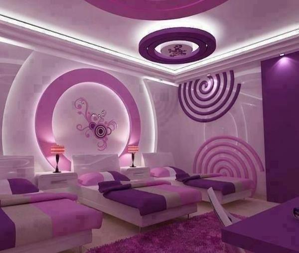 prächtige versteckte beleuchtung im mädchenzimmer lila