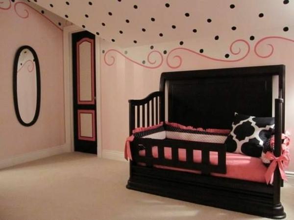 prächtige zimmerfarben gestaltung kinderzimmer schwarz rosa