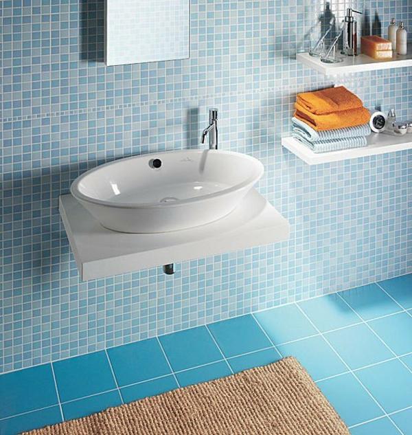 Badezimmer badezimmer weiß blau : Badezimmer Blau Mosaik ~ DiGriT.cOm for .
