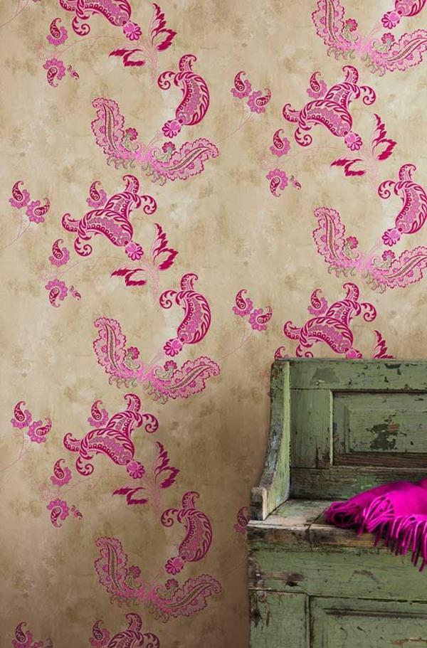 rosa Paisleymuster für wandgestaltung