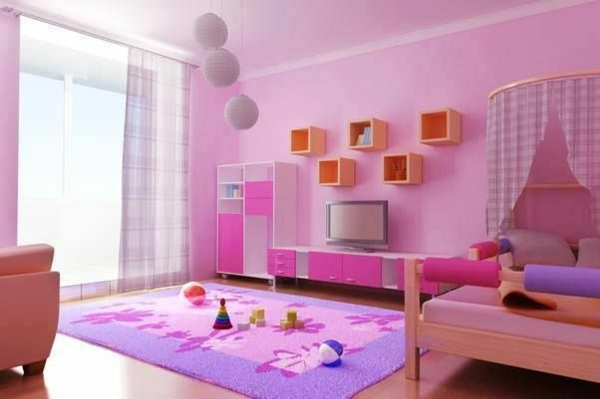 rosa farbgestaltung für mädchenzimmer teppich bett