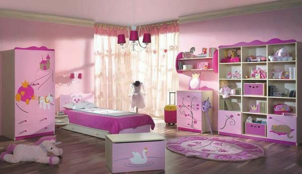 rosa inspiration für mädchenzimmer bett teppich