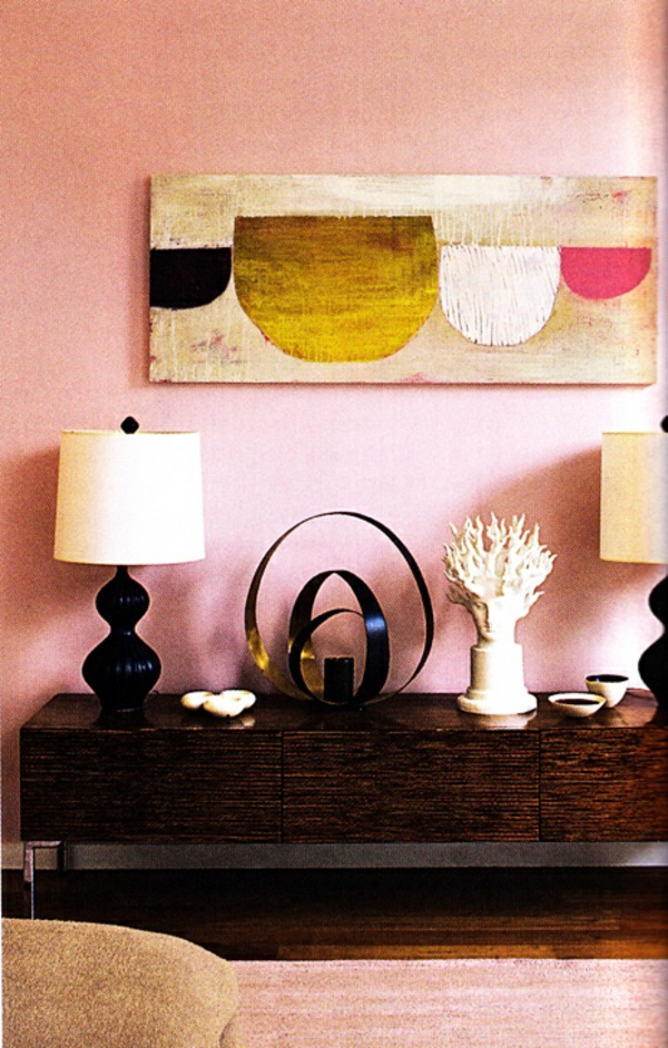 rosa wände anrichte wanddeko tischlampen dekoideen