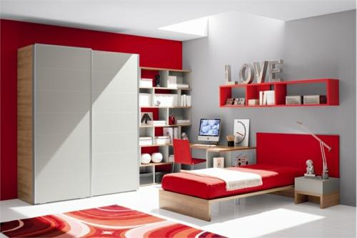 rot farbschema kinderzimmer kleiderschrank jugendzimmer schiebetüren
