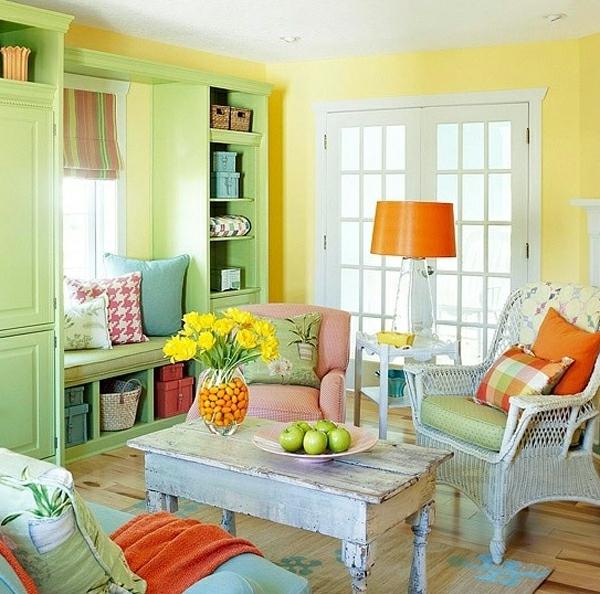 Rustikal Vintage Wohnzimmer Einrichtung Farbenfroh Wandfarben