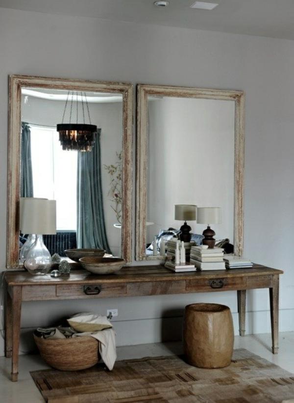 rustikale wohnideen für den flur spiegel holztisch hocker
