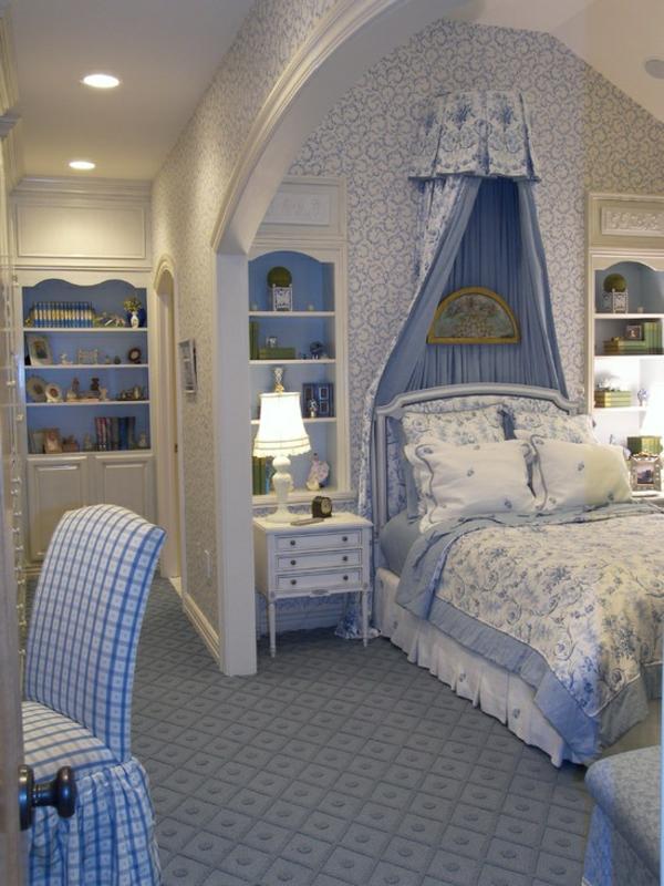 sanfte zimmerfarben gestaltung mit blau weiß mächenzimmer