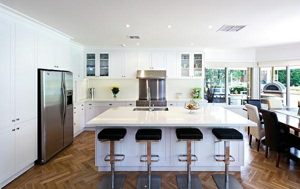 schöne küche bilder glanzvoll hocker leder weiß Kücheneinrichtung und Küchenmöbel