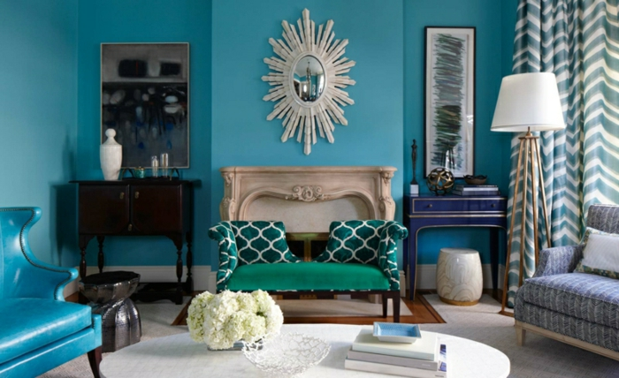 wohnzimmer blau türkis:schöne wandfarbe türkis blau wohnzimmer wandfarben trends