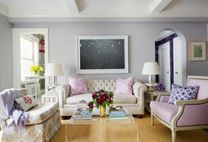 schöne wandfarben ideen wohnzimmer wandfarbe lila grau