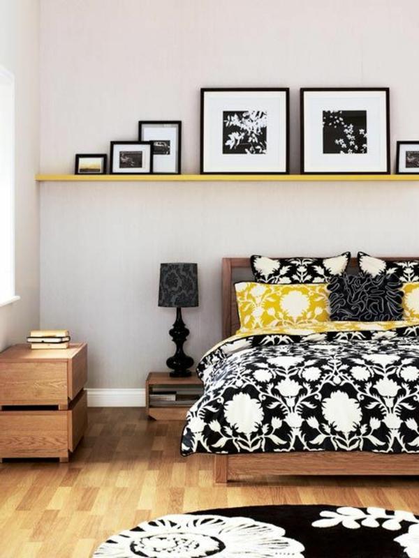 schlafzimmer deko ideen schwarz weiß gelb blumenmuster Dekoideen fürs Schlafzimmer