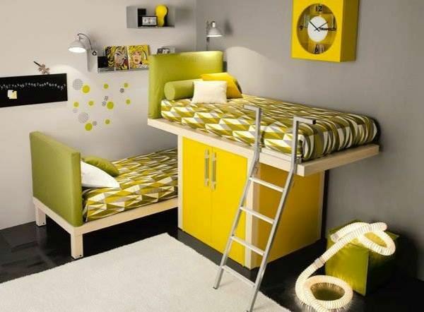 schlafzimmer für kinder gestalten gelbe möbel bett schrank