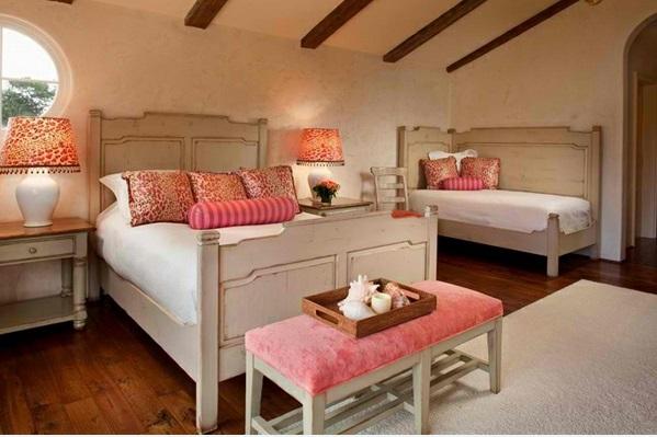 schlafzimmer ideen weiß und  rosa
