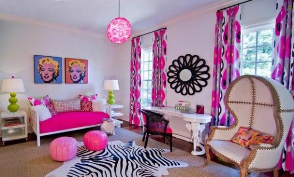 schlafzimmer mädchen rosa akzente