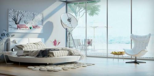schlafzimmer wandgestaltung kunstwerk an der wand rundbett glaswand natürliches licht