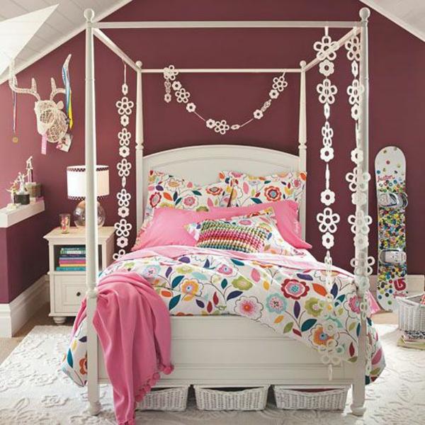 schlafzimmerdesign mädchen bett schöne dekoideen