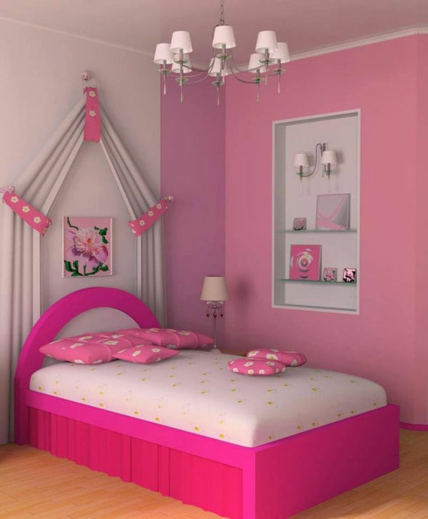 schlichte kinderzimmergestaltung in weiß und rosa